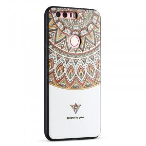 Силиконовый матовый непрозрачный чехол с объемно-рельефным принтом для Huawei Honor 8