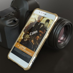Металлический округлый премиум бампер на винтах для Huawei Honor 8 Бежевый