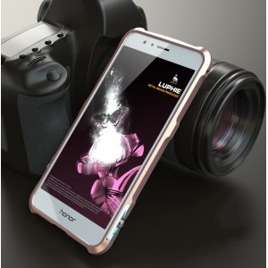 Металлический округлый премиум бампер на винтах для Huawei Honor 8 Розовый