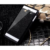 Пластиковый матовый непрозрачный чехол с металлическим напылением для Samsung Galaxy Grand Prime Черный