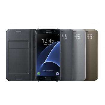 Оригинальный кожаный чехол смарт флип на пластиковой основе с интегрированными информационными LED-значками для Samsung Galaxy S7 Edge