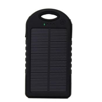 Влагопылезащищенное антискользящее портативное зарядное устройство с солнечной батареей 5000 mAh Черный