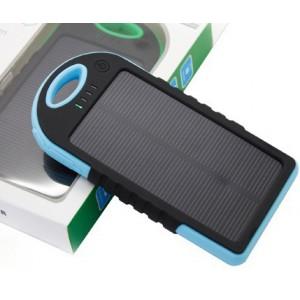 Влагопылезащищенное антискользящее портативное зарядное устройство с солнечной батареей 5000 mAh Голубой