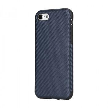 Силиконовый матовый непрозрачный дизайнерский фигурный чехол с поликарбонатной крышкой и текстурным покрытием Узоры для Iphone 7 Синий