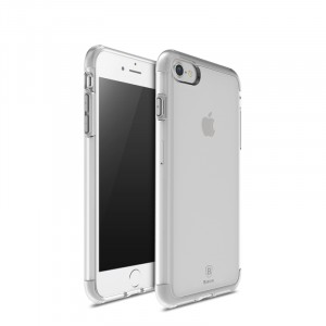 Силиконовый матовый полупрозрачный дизайнерский фигурный чехол для Iphone 7 Белый