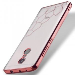 Силиконовый глянцевый полупрозрачный чехол с текстурным покрытием Металлик для Xiaomi RedMi Note 4 Розовый