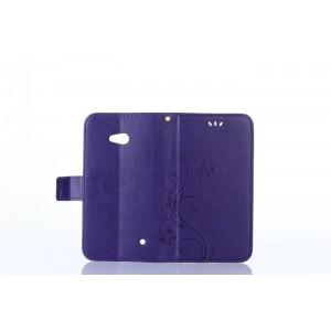 Чехол портмоне подставка текстура Узоры на силиконовой основе на магнитной защелке для Microsoft Lumia 640 Фиолетовый