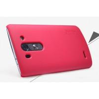 Пластиковый матовый нескользящий премиум чехол для LG G3 S Красный