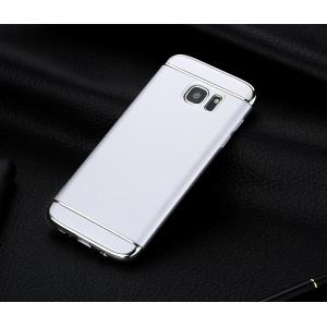Пластиковый непрозрачный матовый чехол сборного типа с текстурным покрытием Металл для Samsung Galaxy S7 Edge Белый