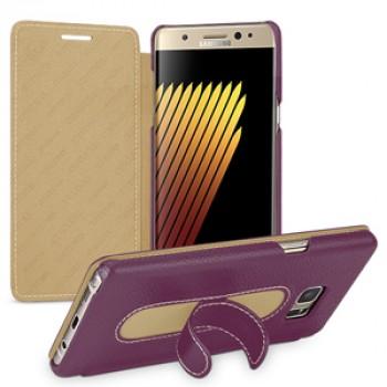 Кожаный чехол накладка (премиум нат. кожа) с функцией подставки для Samsung Galaxy Note 7