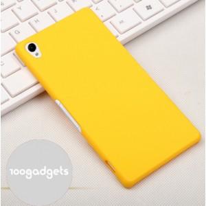 Пластиковый матовый грязестойкий чехол для Sony Xperia Z3 Желтый