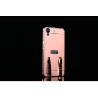Двухкомпонентный чехол c металлическим бампером с поликарбонатной накладкой и зеркальным покрытием для HTC Desire 626/628 Розовый