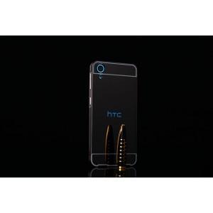 Двухкомпонентный чехол c металлическим бампером с поликарбонатной накладкой и зеркальным покрытием для HTC Desire 626/628 Черный