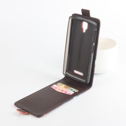 Чехол вертикальная книжка на силиконовой основе с отсеком для карт и полноповерхностным принтом на магнитной защелке для Lenovo A1000