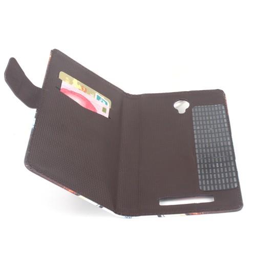 Чехол горизонтальная книжка подставка на клеевой основе с отсеком для карт и полноповерхностным принтом на магнитной защелке для Blackview BV5000
