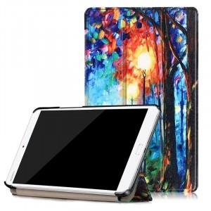 Сегментарный чехол книжка подставка на непрозрачной поликарбонатной основе с полноповерхностным принтом для Huawei MediaPad M3