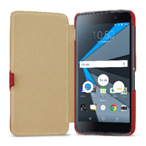 Кожаный чехол горизонтальная книжка (премиум нат. кожа) с крепежной застежкой для BlackBerry DTEK50
