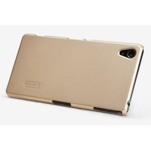 Пластиковый матовый премиум нескользящий чехол для Sony Xperia Z3 Бежевый