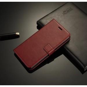 Чехол портмоне подставка на пластиковой основе на магнитной защелке для Lenovo S90 Коричневый