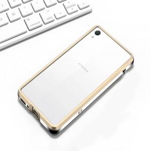 Металлический округлый бампер сборного типа на винтах для Sony Xperia XA Бежевый