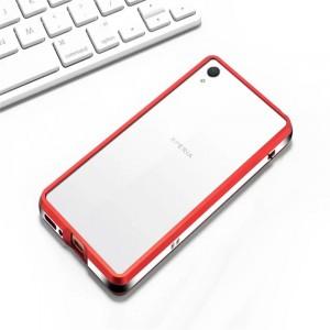 Металлический округлый бампер сборного типа на винтах для Sony Xperia XA Красный