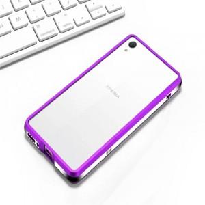Металлический округлый бампер сборного типа на винтах для Sony Xperia XA Фиолетовый
