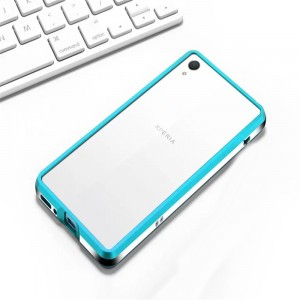 Металлический округлый бампер сборного типа на винтах для Sony Xperia XA Голубой