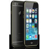 Металлический бампер с золотой окантовкой и отверстиями для улучшенного приема сигнала для Iphone 6 Черный