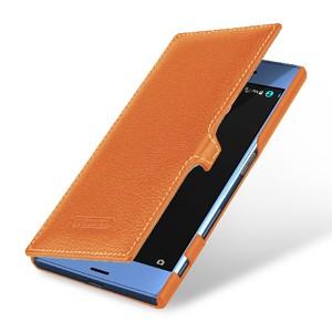Кожаный чехол горизонтальная книжка (премиум нат. кожа) с крепежной застежкой для Sony Xperia XZ/XZs
