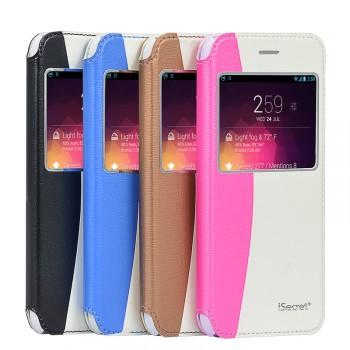 Чехол флип на пластиковой основе с окном вызова и внешним карманом для Iphone 6 Plus