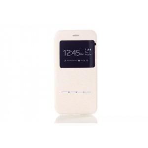 Чехол флип подставка текстурный с окном вызова и свайп-полосой для Iphone 6 Plus Белый