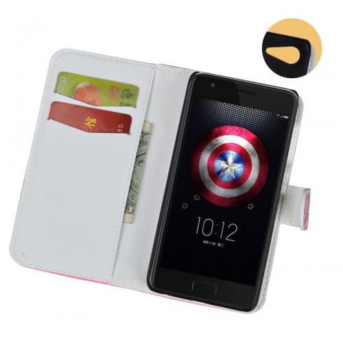 Чехол портмоне подставка на пластиковой основе с полноповерхностным принтом на магнитной защелке для ZUK Z2
