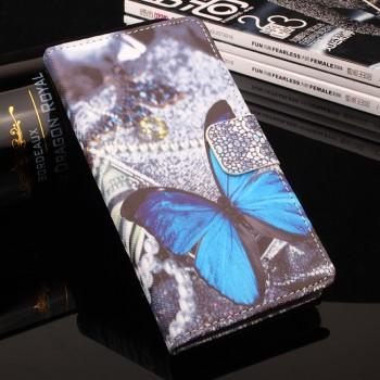 Чехол горизонтальная книжка подставка на силиконовой основе с отсеком для карт и полноповерхностным принтом на магнитной защелке для Meizu M3E