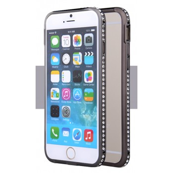 Металлический бампер инкрустированный стразами для Iphone 6 Черный