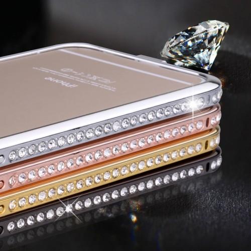 Металлический бампер инкрустированный стразами для Iphone 6