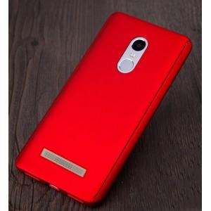 Пластиковый непрозрачный матовый чехол с улучшенной защитой элементов корпуса и экрана для Xiaomi RedMi Note 3 Красный