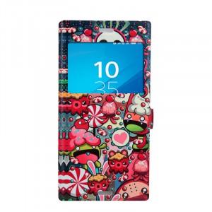 Чехол горизонтальная книжка подставка на силиконовой основе с окном вызова и отсеком для карт на магнитной защелке для Sony Xperia XZ/XZs