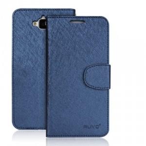 Чехол портмоне подставка на силиконовой основе на магнитной защелке для Huawei Honor 4C Pro Синий