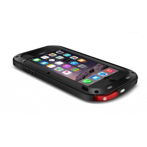 Ультрапротекторный пылеводоударостойкий чехол алюминиевый сплав/закаленное стекло/силиконовый полимер для Iphone 6