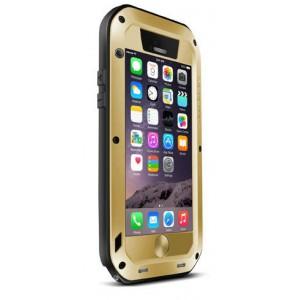 Ультрапротекторный пылеводоударостойкий чехол алюминиевый сплав/закаленное стекло/силиконовый полимер для Iphone 6 Бежевый