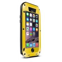 Ультрапротекторный пылеводоударостойкий чехол алюминиевый сплав/закаленное стекло/силиконовый полимер для Iphone 6 Желтый