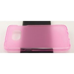 Силиконовый матовый полупрозрачный чехол для Samsung Galaxy S7 Edge Розовый