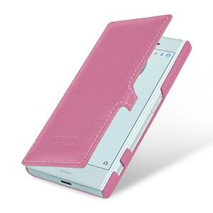 Кожаный чехол горизонтальная книжка (премиум нат. кожа) с крепежной застежкой для Sony Xperia X Compact