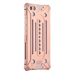Цельнометаллический противоударный чехол из авиационного алюминия на винтах с мягкой внутренней защитной прослойкой для гаджета с прямым доступом к разъемам для Xiaomi MI5 Розовый