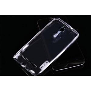 Силиконовый матовый полупрозрачный чехол повышенной защиты для Asus Zenfone 2 Белый