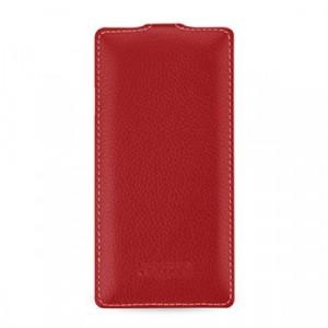 Кожаный чехол вертикальная книжка с защёлкой для Sony Xperia Z3 Красный