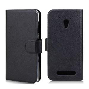 Чехол горизонтальная книжка с крепежной застежкой и отделение для карт для ASUS Zenfone Go Черный
