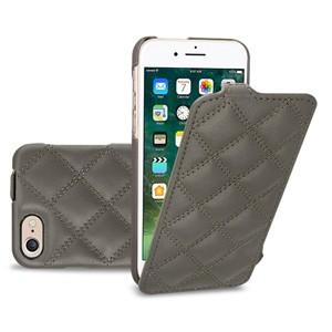 Кожаный чехол вертикальная книжка (премиум нат. кожа) текстура Ромб для Iphone 7 Plus/8 Plus