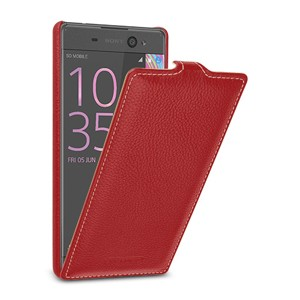 Кожаный чехол вертикальная книжка (премиум нат. кожа) с крепежной застежкой для Sony Xperia XA Ultra