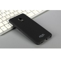 Пластиковый непрозрачный матовый чехол с повышенной шероховатостью для Meizu Pro 6 Черный